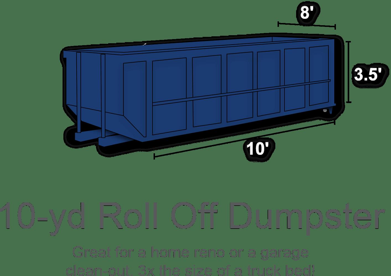 10 yard roll off dumpster rental