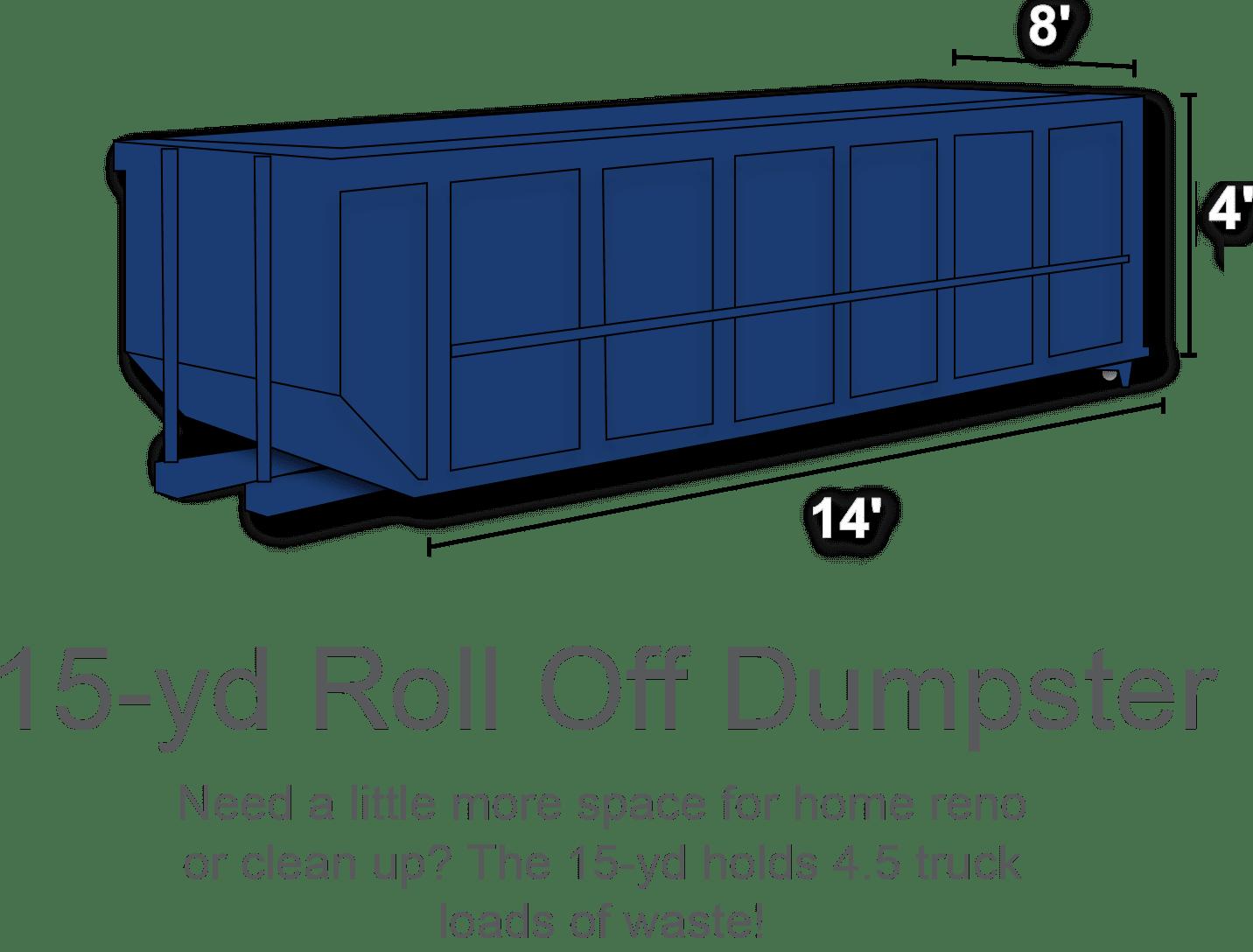 15 yard roll off dumpster rental