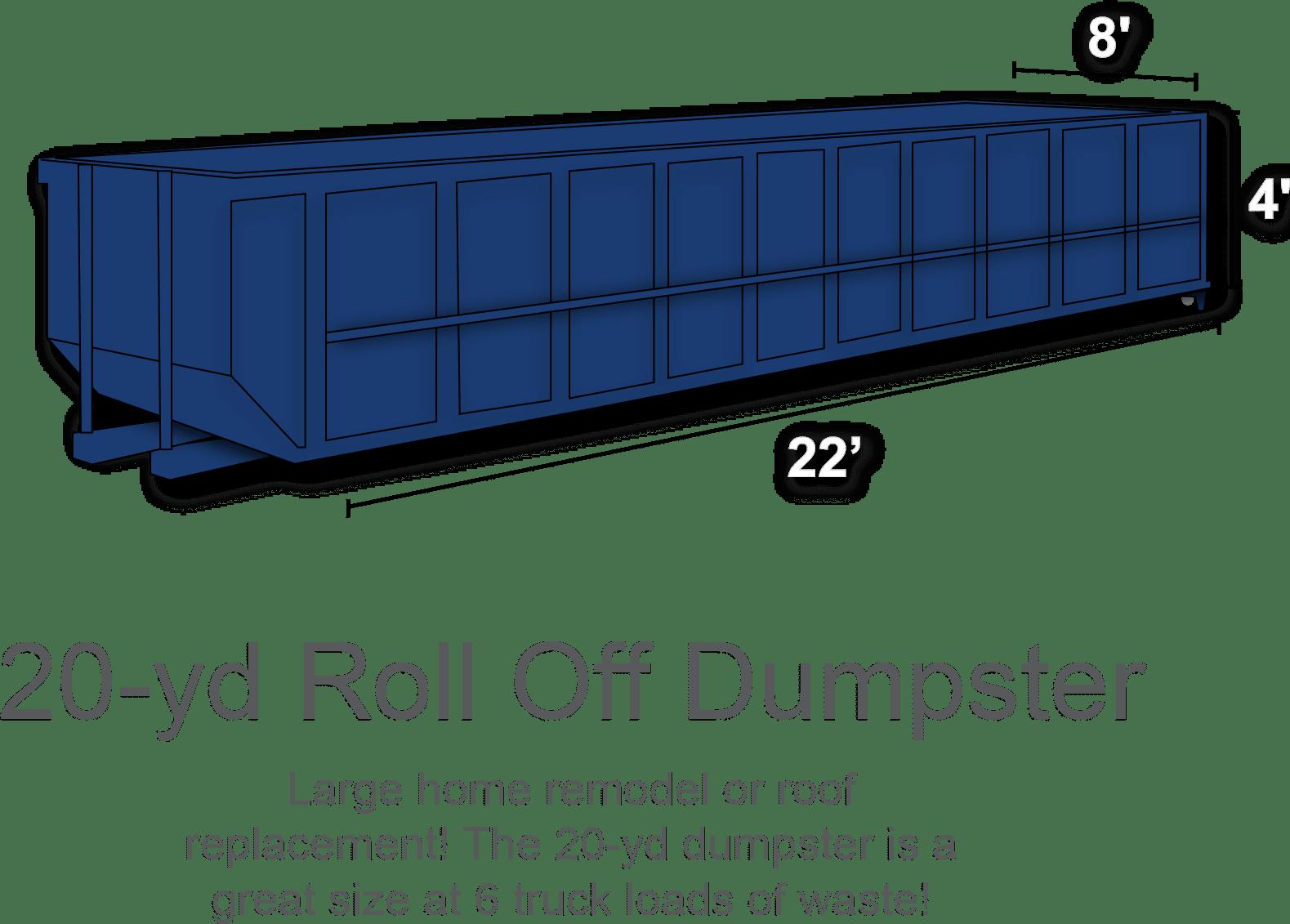 20 yard roll off dumpster rental