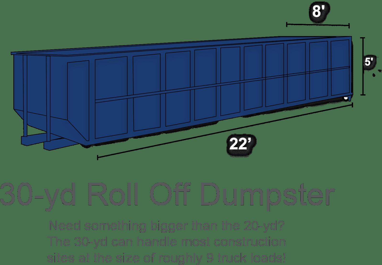 30 Yard Roll over dumpster rental